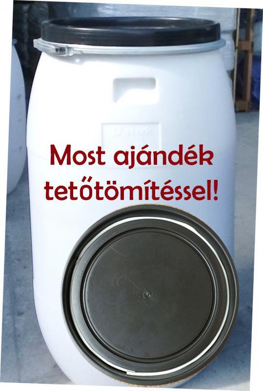 Műanyag hordó 220 l-es ballon bilincses fehér színben