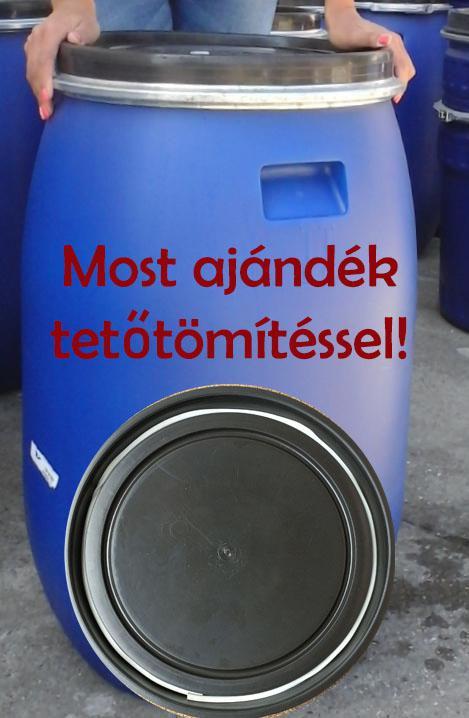 Műanyag hordó 220 l-es ballon bilincses kék színben