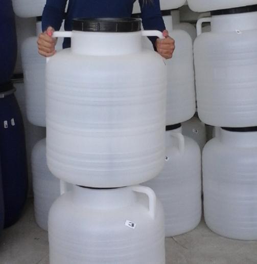 Műanyag hordó 60 l-es nagyszájú fehér füles ballon csavaros tetővel