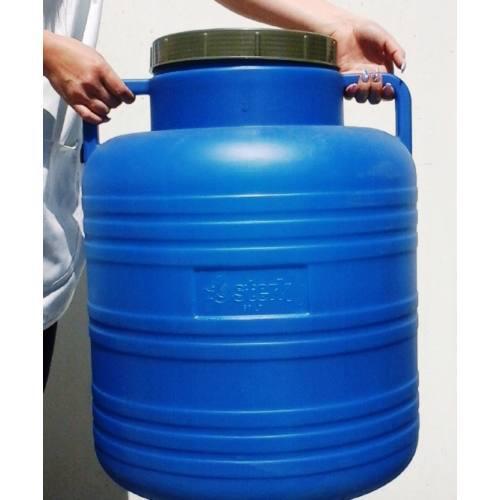 Műanyag hordó 60 l-es nagyszájú füles ballon csavaros tetővel (kék)