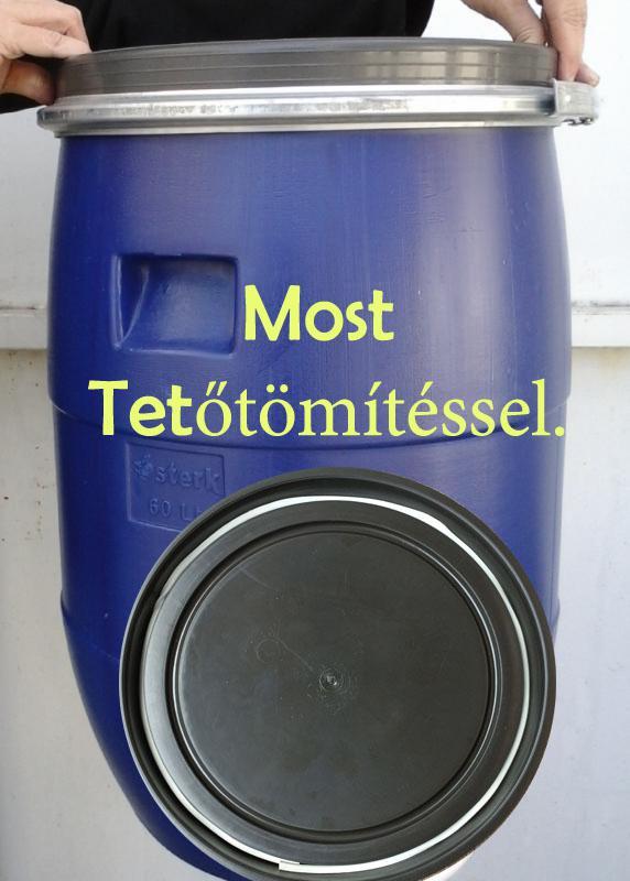 Műanyag hordó 85 l-es ballon bilincses tetővel kék szín