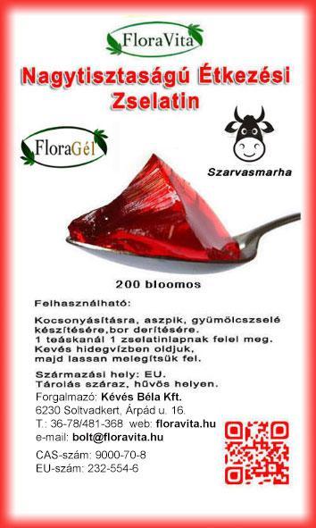 Nagy tisztaságú étkezési zselatin 200g FloraGél 200 bloom