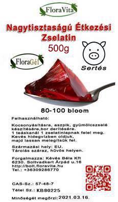 Nagy tisztaságú étkezési zselatin FloraGél 80-100 bloom 500g