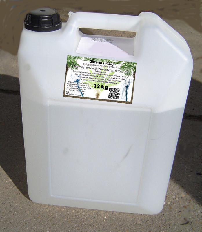 Növényi glicerin 12 kg-os kannában 99,5,%-os gyógyszerkönyvi minőség.  (ár/kg)