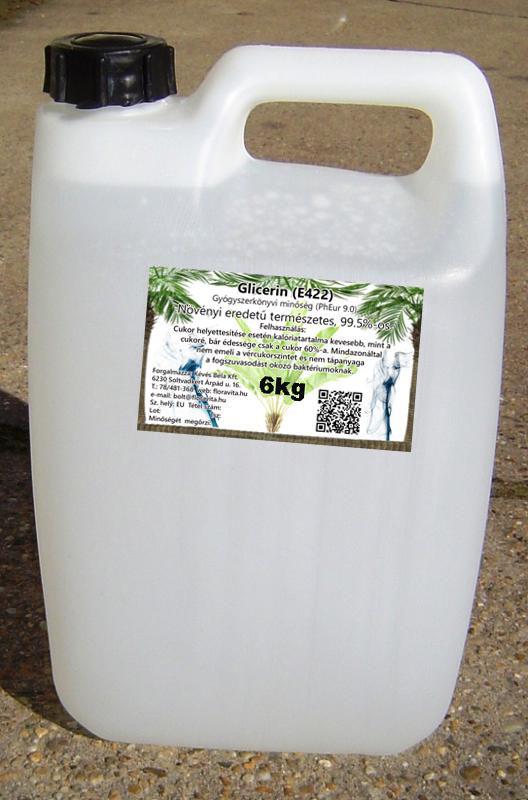 Növényi glicerin 6 kg-os kannában 99,5,%-os  gyógyszerkönyvi minőség.  (ár/kg)