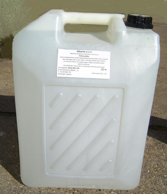 Növényi glicerin 99,5,%-os 25 kg-os, ár/ 1 kg