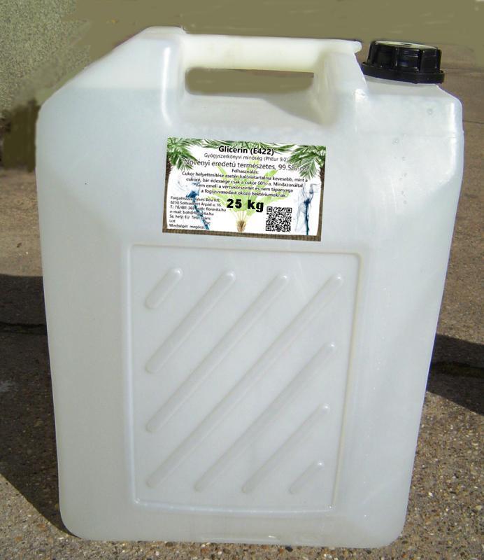 Növényi glicerin 99,5,%-os gyógyszerkönyvi minőség. 25 kg-os kannában (ár/kg)