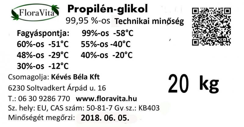 Propilén-glikol Technikai minőség 20 kg-os kannában ár/kg