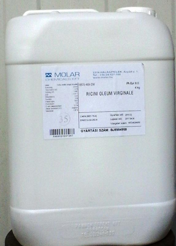 Ricinusolaj gyógyszerkönyvi minőség. 20 l-es kannában ár/1 liter
