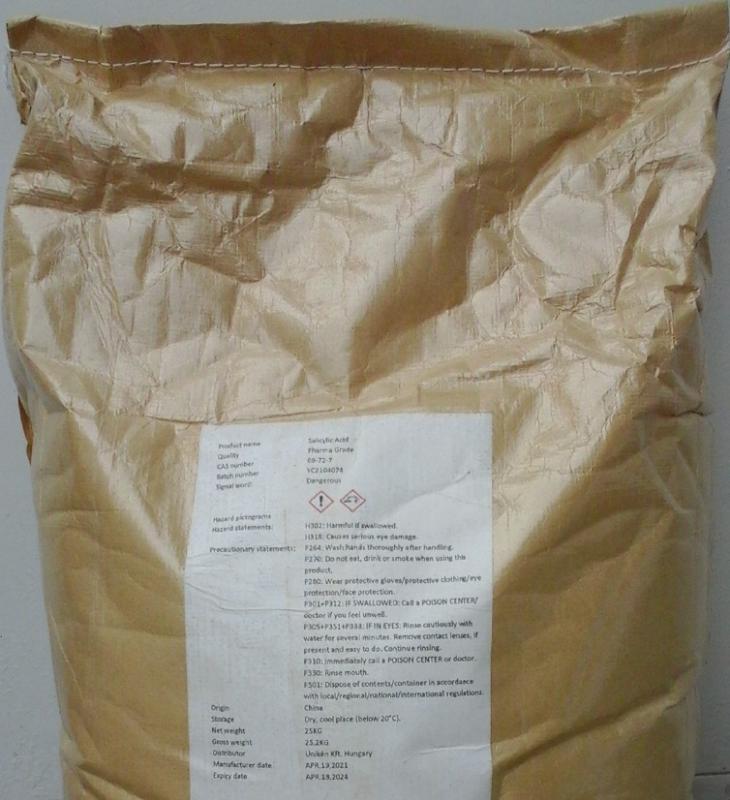 Szalicil szalicilsav 25 kg-os zsákban ömlesztve ár/1kg