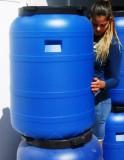Műanyag hordó 200 l-es ballon csavaros tetővel 42 cm-es szájnyílással, csappal