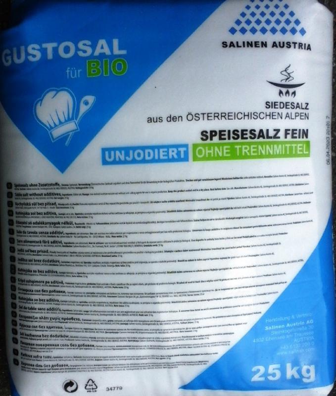 Tiszta só NaCl vegytiszta étkezési biosó  25 kg-os zsákban ömlesztve (ár / kg)