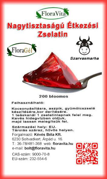 Zselatin FloraGél 200 bloom 200 g Nagy tisztaságú étkezési