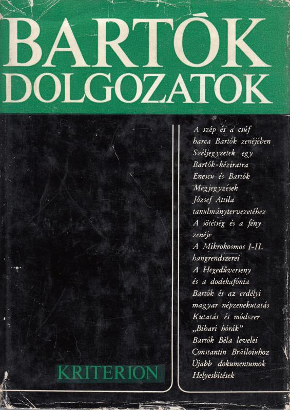 László Ferenc (szerk.) BARTÓK DOLGOZATOK - Tanulmánygyűjtemény