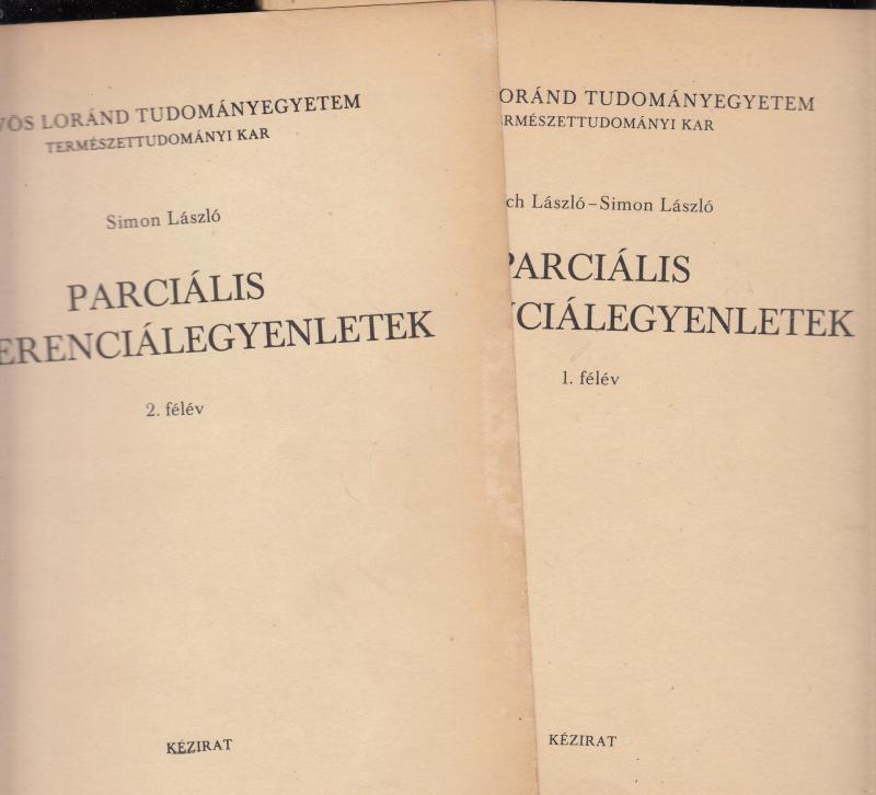 Simon László : PARCIÁLIS DIFFERENCIÁLEGYENLETEK  1.- 2.