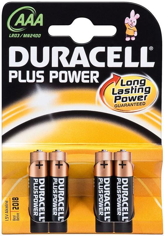 DURACELL PLUS POWER LR03/AAA ALKÁLI MANGÁN ELEM (4 darabos szett)