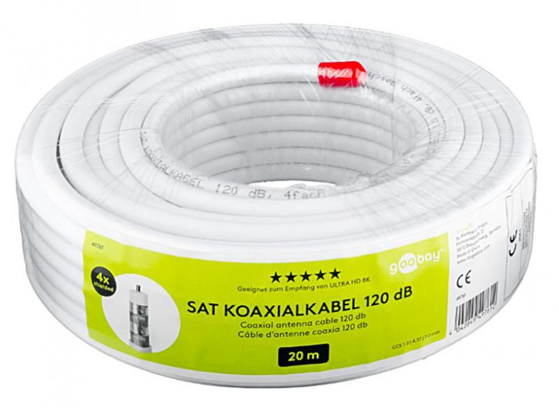 RG-6 KOAX QUADSHIELD KOAXIÁLIS KÁBEL GOOBAY CCS 120 dB 20 MÉTER