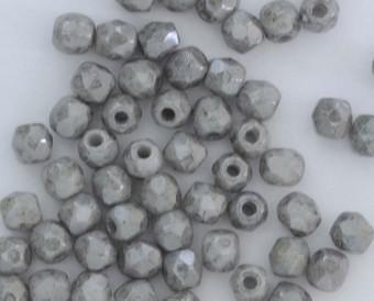 4mm chalk white grey luster