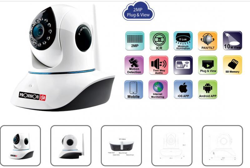 Kamera  IP Media-Tech beltéri, vezeték nélküli biztonsági, 300K