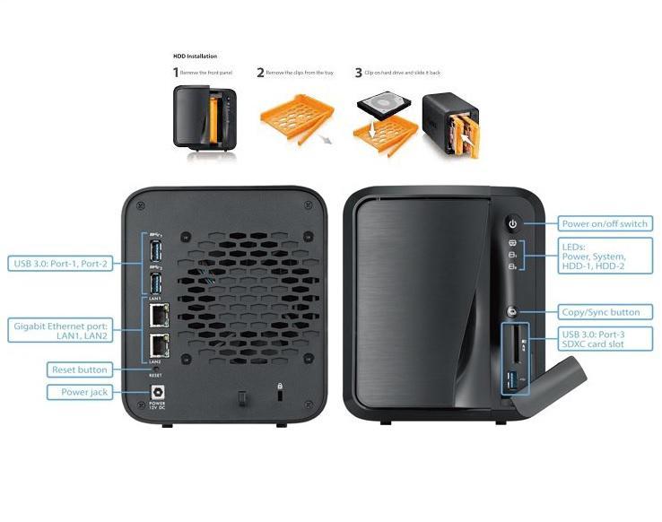 Media NAS Zyxel NAS520 Digital media server 2-bay Cloud Storage