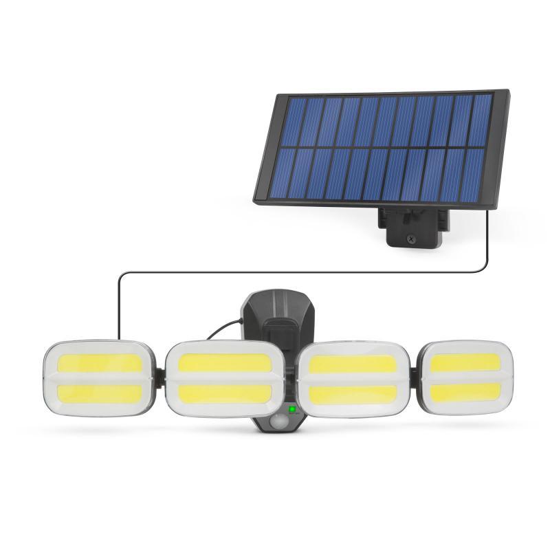 Mozgásérzékelős   Napelemes kültéri LED reflektor 2 irányba