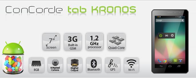 Tablet  7' tablet Kronos +billentyűzet   tok fekete/szürke