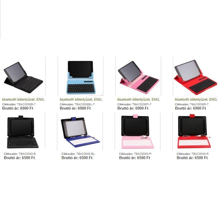 Tablet  billentyűzet Bluetooth billentyűzetes tok /4 színben /