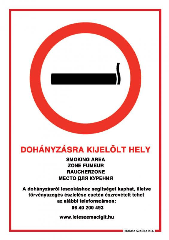 Dohányzásra kijelölt hely - A/4 tábla