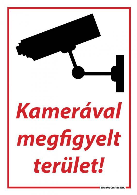 Kamerával megfigyelt terület - A/4 tábla
