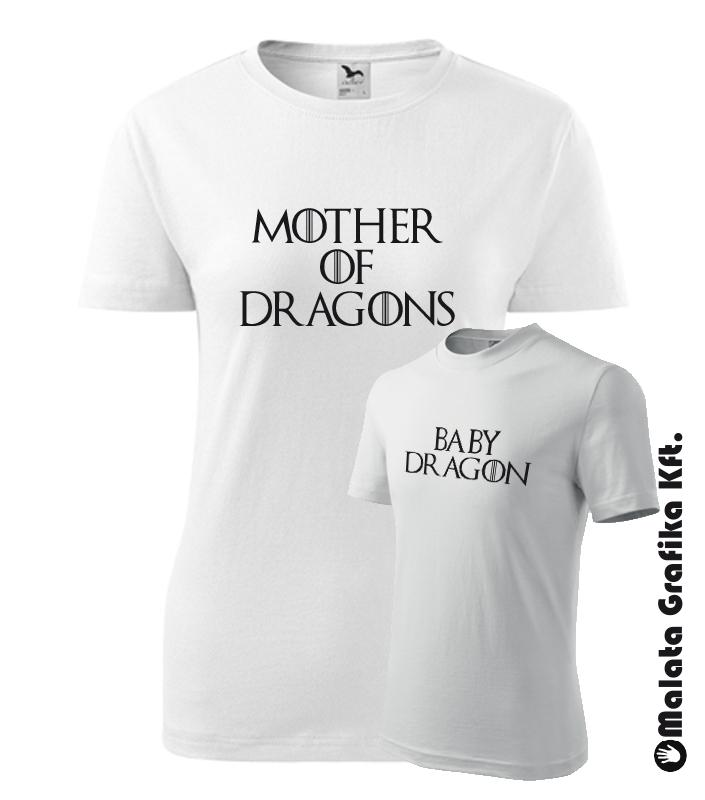 32dbc1518e Trónok Harca Anya-Lánya Póló - Mother of dragon, Baby dragon póló