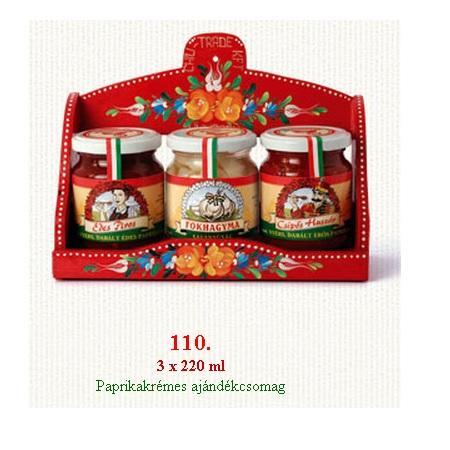 Ajándékcsomag krémekkel édes, csípős paprika és fokhagymakrém