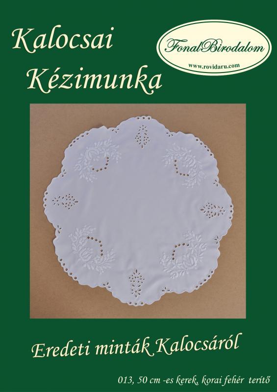 fehér kalocsai kerek terítő 012. 50 cm