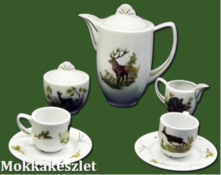 Glória Mokka kávéskészlet 9 részes erdeivad mintás 104004