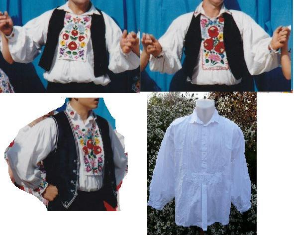 kalocsai népitáncos ing férfi +előke, mandzsetta nélkűl