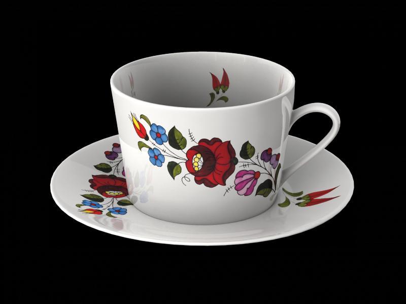 Reggeliző csésze kpl. tányérral új design kalocsai 0,26L.