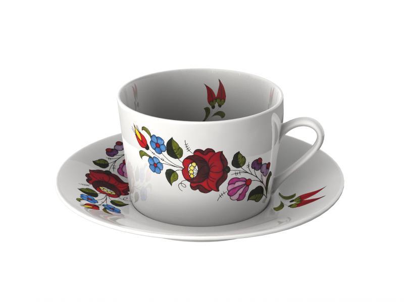 Reggeliző csésze kpl. tányérral új design kalocsai 0,4L.