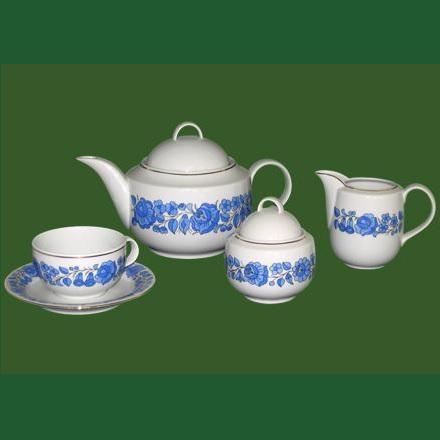 Teakészlett 9 részes régi kalocsai népművészeti mintával
