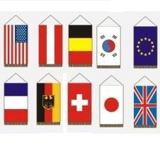 világ nemzetek zászlói nyomott címerrel Asztali