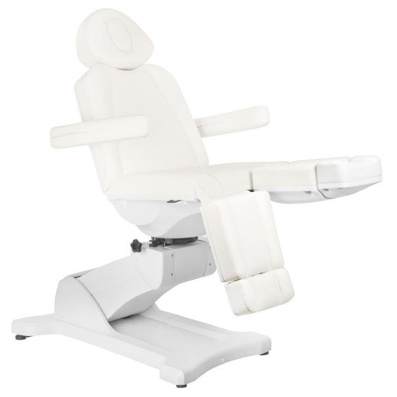 5 motoros pedikűrös kezelőágy, fehér műbőrrel, 180 fokban forgatható (4877)