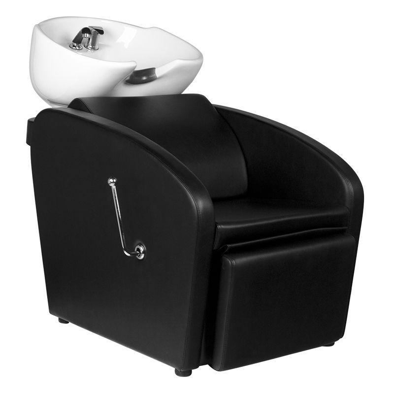 Fejmosó fekete műbőrrel, fehér porcelánnal (3611)
