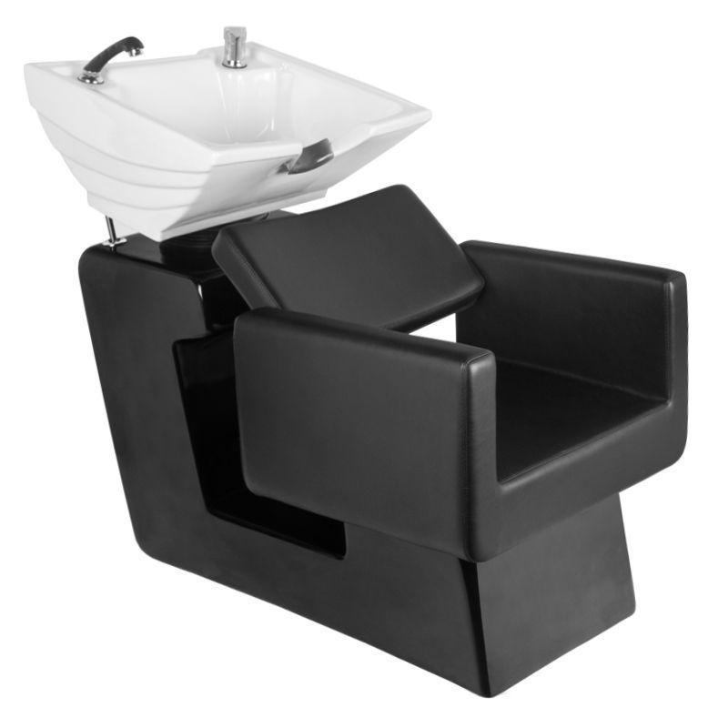 Fejmosó fekete műbőrrel, fehér porcelánnal (6021)