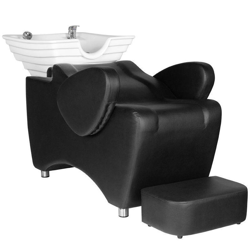 Fejmosó fekete műbőrrel, fehér porcelánnal, fellépővel (6392)