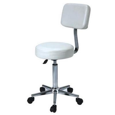 Forgó ülőke háttámlával, króm vázzal, fehér műbőrrel (A)
