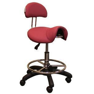 Műkörmös munkaszék, nyereg üléssel, háttámlával. Pink