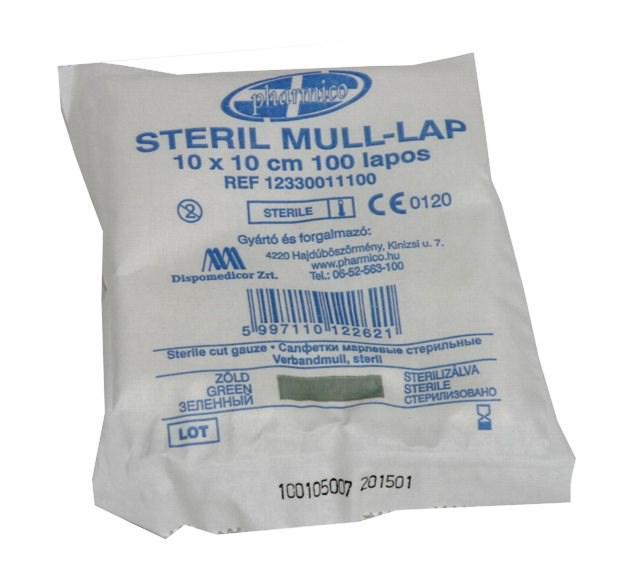 Mull lap 10x10 steril, vágott (100 lap)