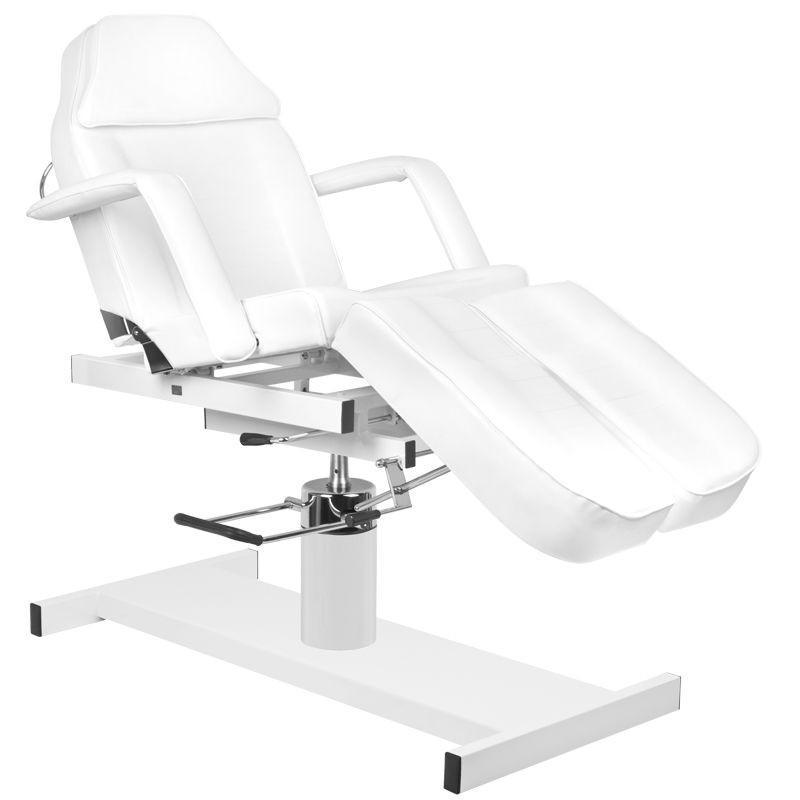 Pedikűrös szék, hidraulikus, fehér műbőrrel (0714)