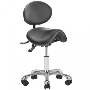 Forgó ülőke, háttámlás, gázrugós, nyeregüléssel, fekete műbőrrel (1025 B)