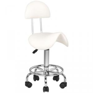 Forgó ülőke háttámlával, nyeregüléssel, fehér műbőrrel, lábtartóval, króm vázzal, görgőkkel (8590)