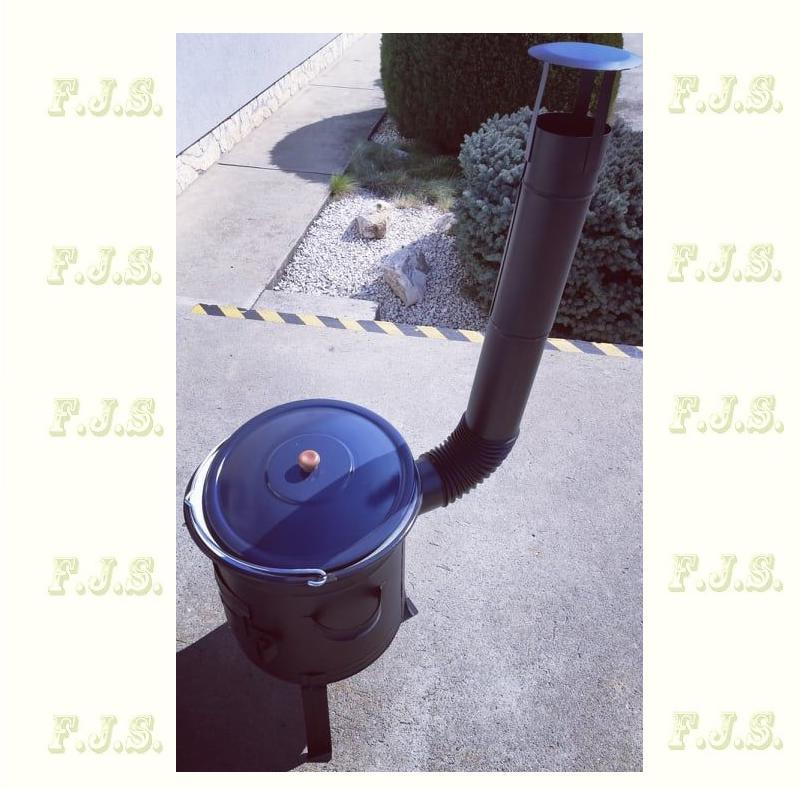 30 literes gulyásbogrács készlet /üstház + cső + bogrács + fedő/  (8 részes)