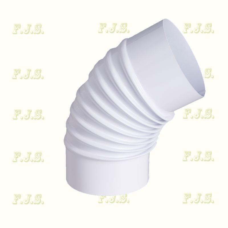 alumínium Füstcső Könyök Ø150/120° Szinterezett fehér gázkészülékekhez